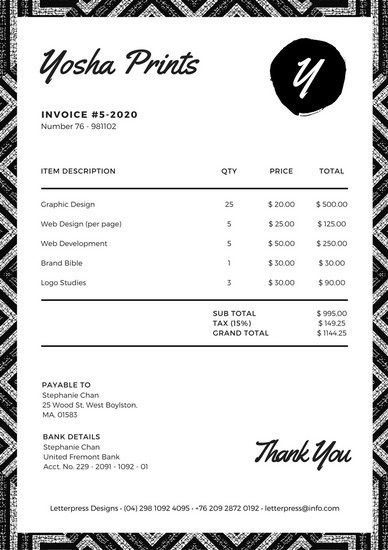 Black and White Tribal Pattern Invoice Letterhead - Templates by Canva