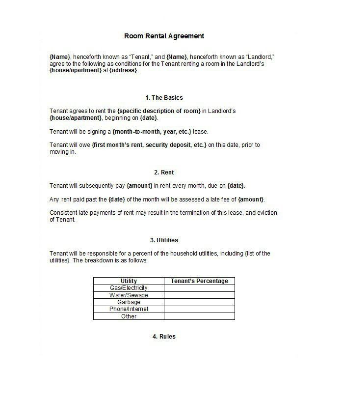 Rental Agreement Letter. Simple Rental Agreement Form ...