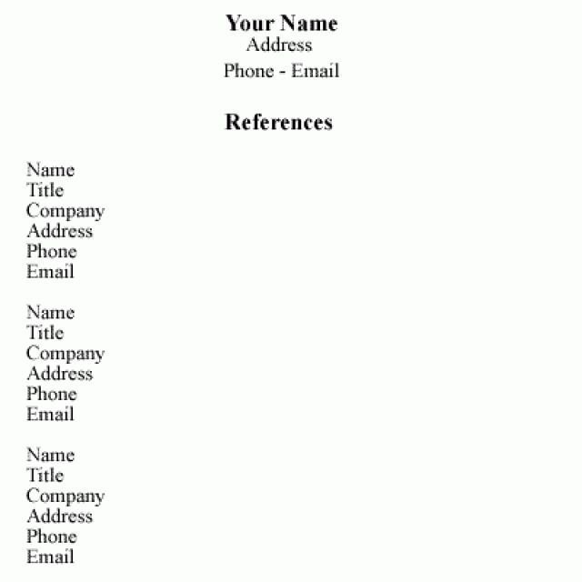 sample reference list for jobs
