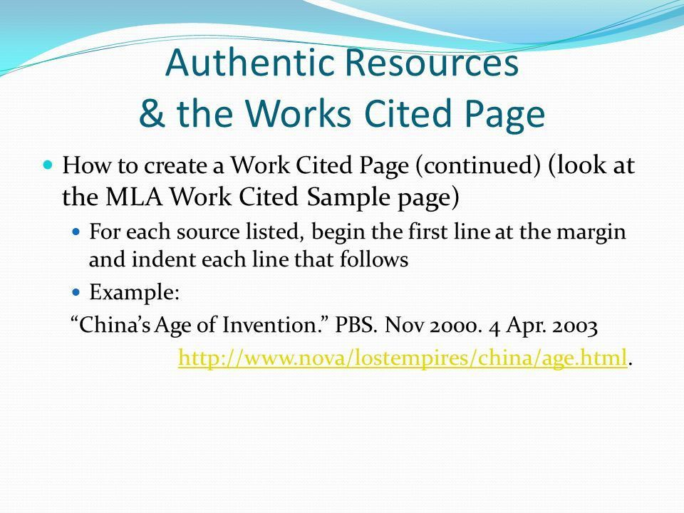 Authentic Resources & the Works Cited Page - ppt download
