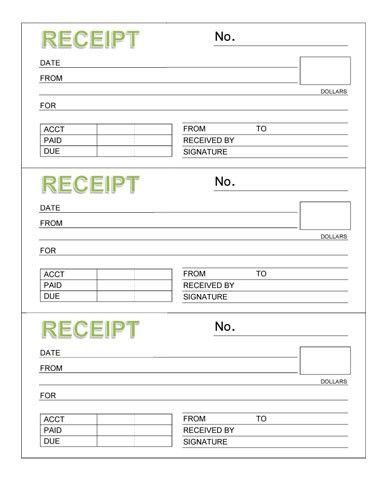 Rent Receipt Book (Three Receipts per Page) - Microsoft Word ...