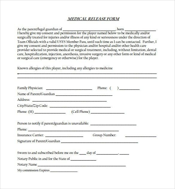 Sample Medical Release Form   10+ Free Documents In PDF, Word