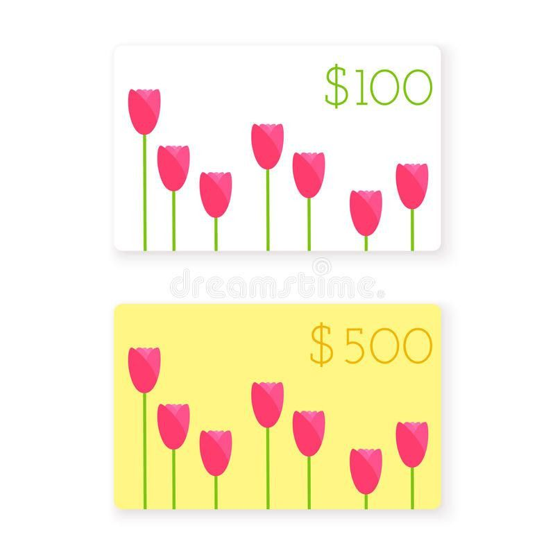 Vector Flat Style Gift Card Template $100 And $500 Stock Vector ...
