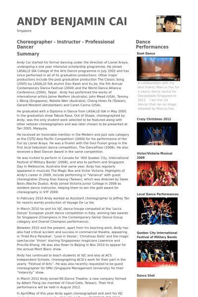 Dance Instructor Resume samples - VisualCV resume samples database