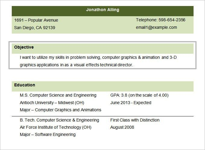 Resume Objectives – 46+ Free Sample, Example, Format Download ...