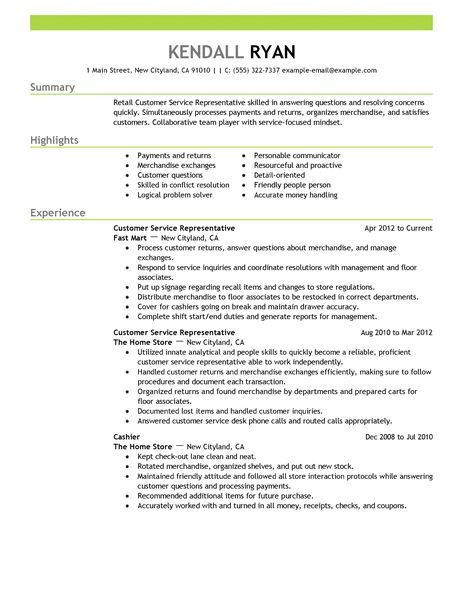 Sample Resume For Customer Service Representative In Retail ...