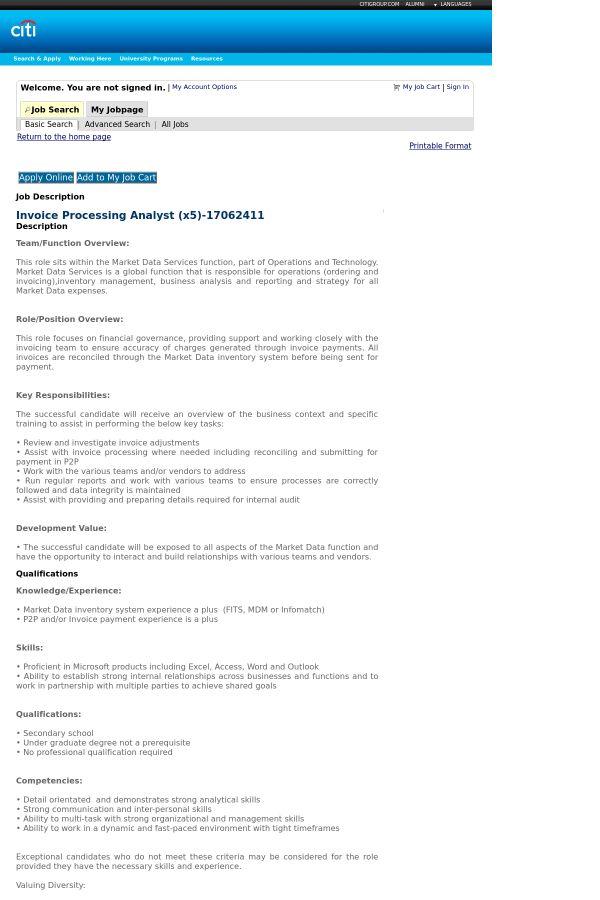 Invoice Processing Analyst job at Citi in Belfast, United Kingdom ...