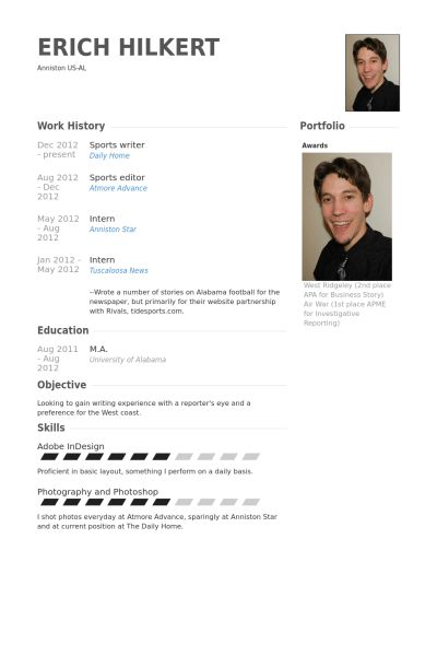 Sports Writer Resume samples - VisualCV resume samples database