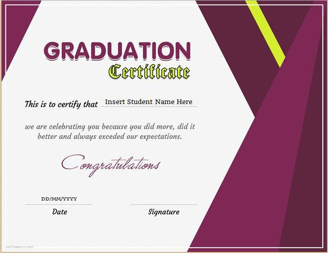 Graduation Certificate Template for MS Word DOWNLOAD at http ...