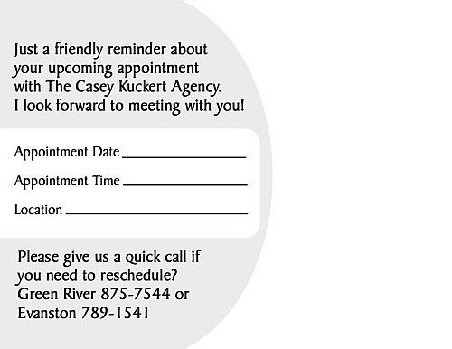 Appointment Reminder Postcards for Financial Advisors