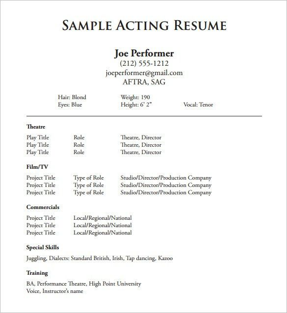 Acting Resume Template – 8+ Free Word, Excel, PDF Format Download ...
