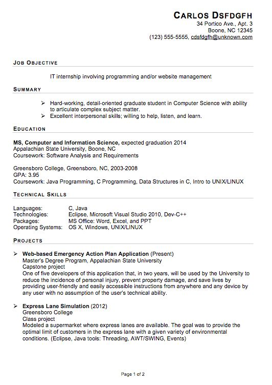 Resume Objective For Internship - CV Resume Ideas