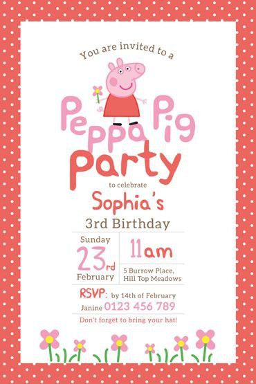 Peppa Pig Birthday Invitations | badbrya.com