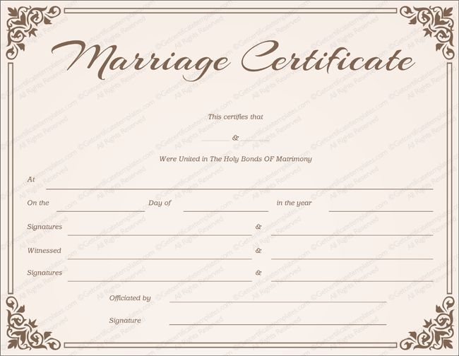 Free Printable Marriage Certificate Templates - Editable & Printable