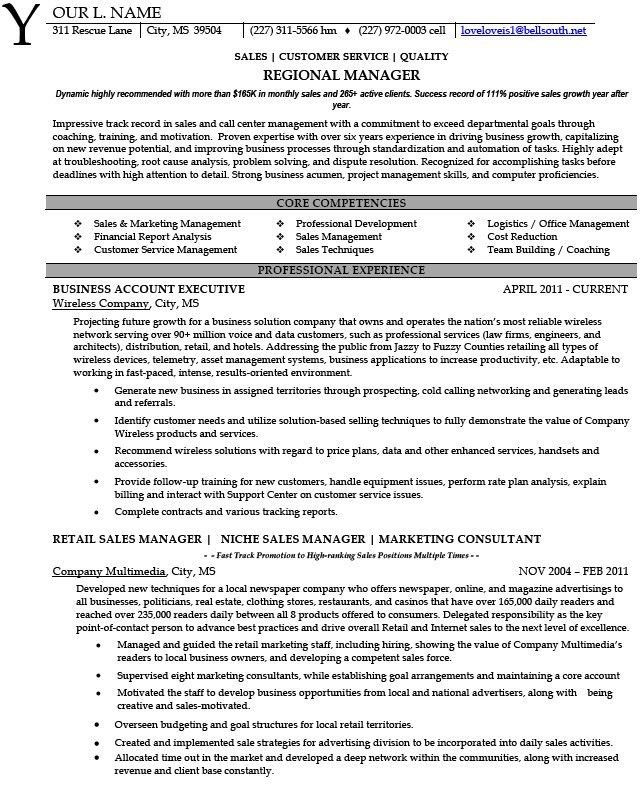 regional sales manager resume sample development and regional