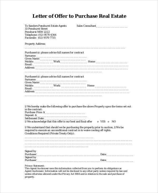 7+ Real Estate Offer Letter - Free Sample, Example Format Download ...