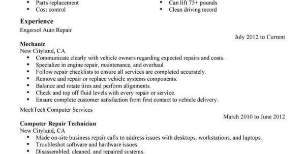 Automotive Mechanic Resume Templates Auto Mechanic Resume ...