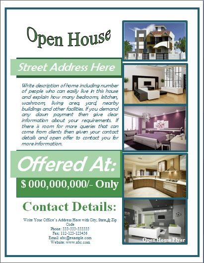 Sample Open House Flyer Template | Formal Word Templates