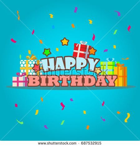 Happy Birthday Greeting Card Template Gift Stock Vector 687532915 ...