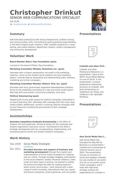 Social Media Strategist Resume samples - VisualCV resume samples ...