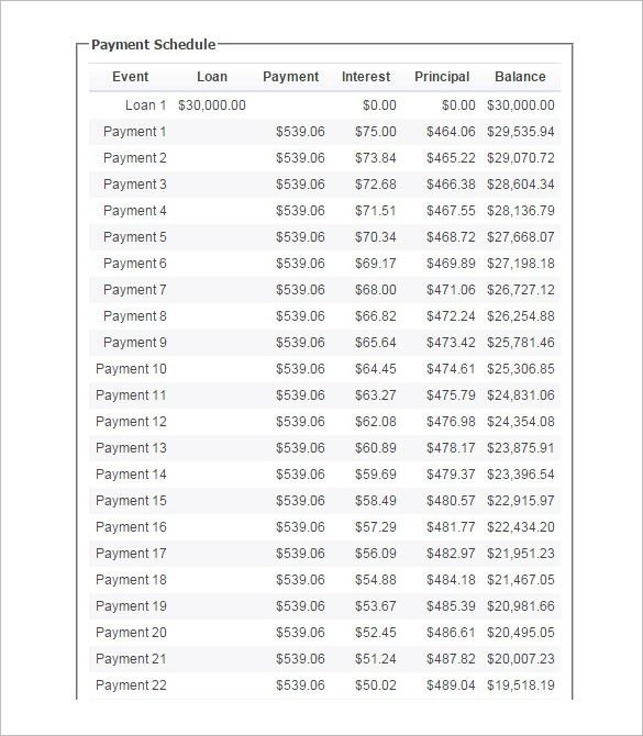 Loan Payment Schedule Template – 6+ Free Word, Excel, PDF Format ...