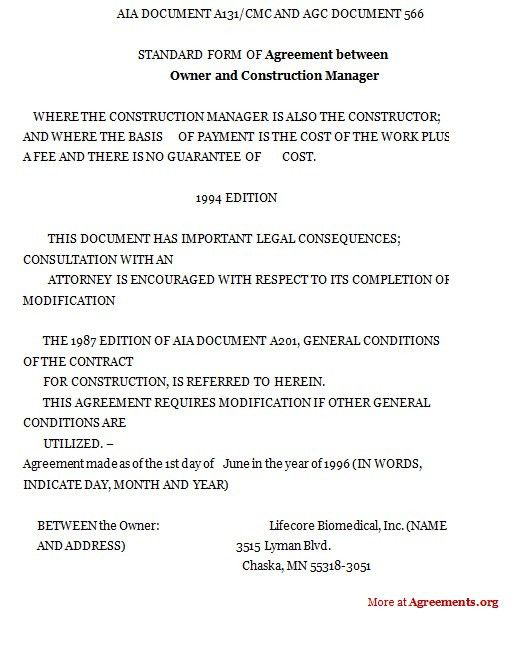 Agreement between owner and construction manager,Sample Agreement ...