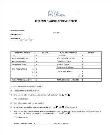 Personal Financial Statement Form Samples - 7+ Free Documents in ...
