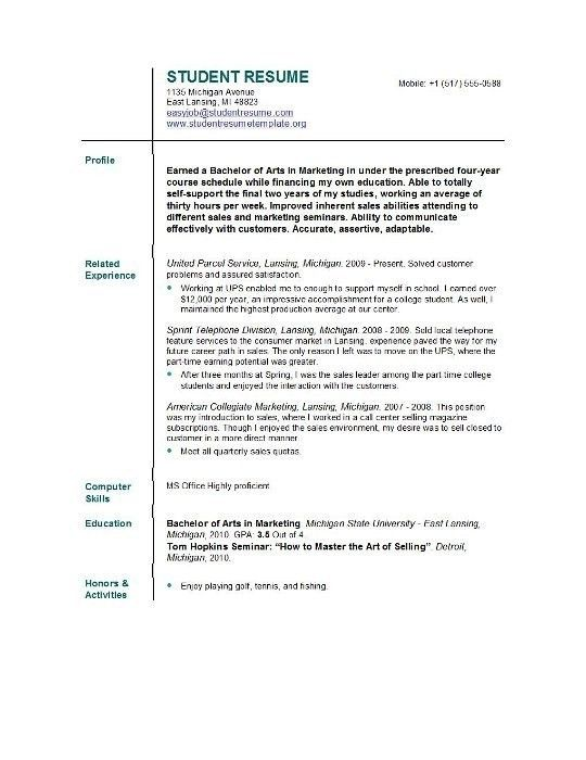 College Resume Example Free Sample College Resumes Sample Resume ...