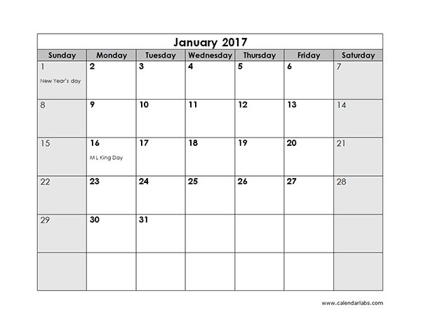 2017 Monthly Calendar Template 18 - Free Printable Templates