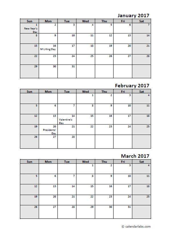 2017 Quarterly Calendar With Holidays - Free Printable Templates