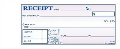 "Adams® Carbonless Money/Rent Receipt Books, 2-3/4"" x 7-3/16"", 3 ..."