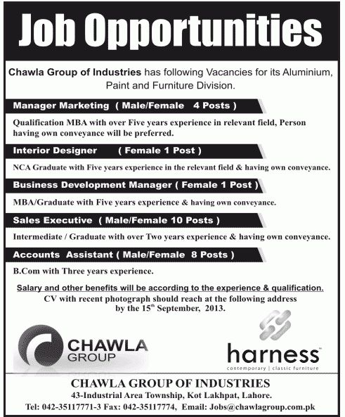 Assistant Job Chawla Group Of Industries Manager Marketing