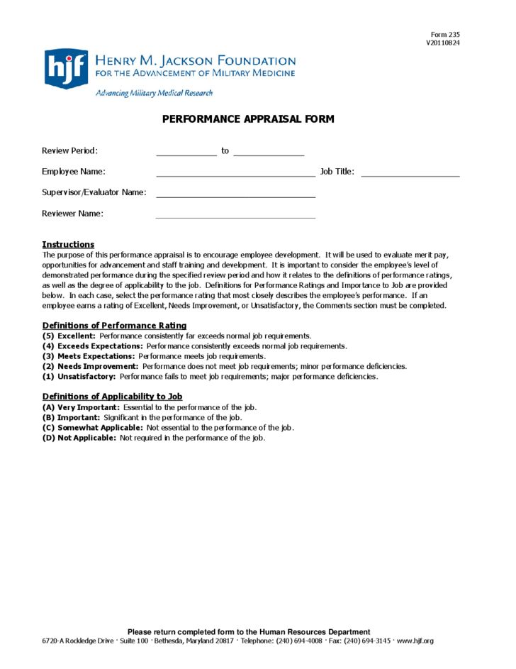 Performance Appraisal Form Sample Free Download