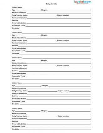 Printable Babysitter Forms