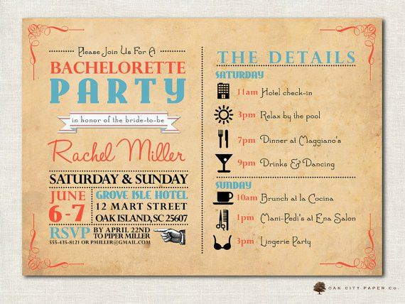 Bachelorette Party Itinerary Templates