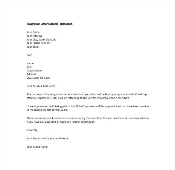 Download Examples Of Resignations Letters | haadyaooverbayresort.com