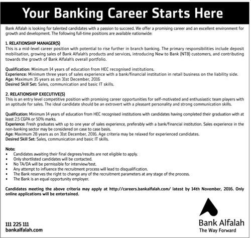 Jobs in Bank Alfalah for Relationship Manager, Relationship Executive