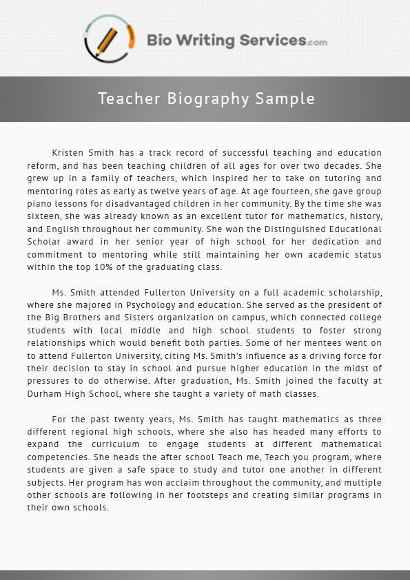 View this teacher biography sample and get the inspiration you ...