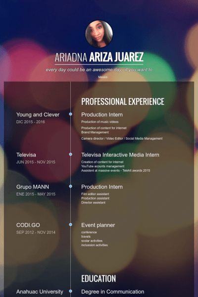 Production Intern Resume samples - VisualCV resume samples database