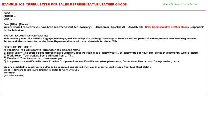 Sales Representative Leather Goods Offer Letter