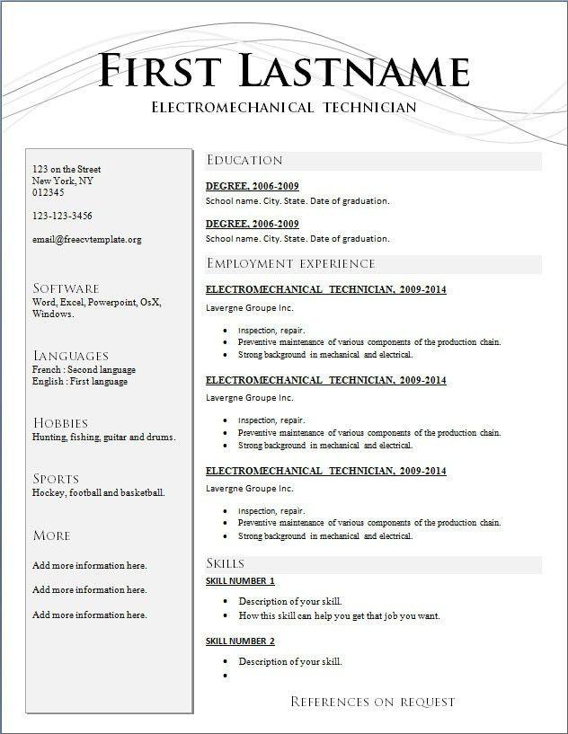 Best Cv Template Word Curriculum Vitae Resume Template 2016 ...