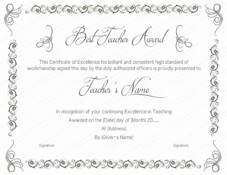 Best Teaching Performance Award Certificate Template