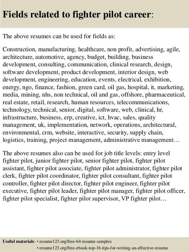 Top 8 fighter pilot resume samples