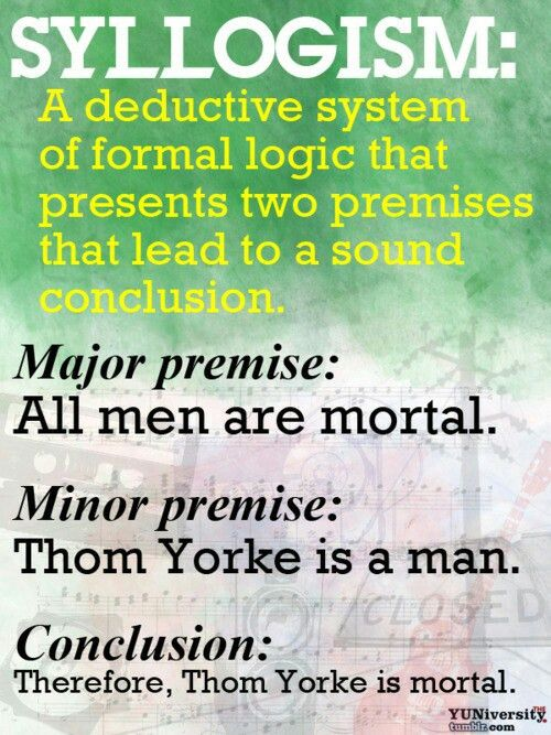 Syllogism In logic, a form of deductive reasoning consisting of a ...