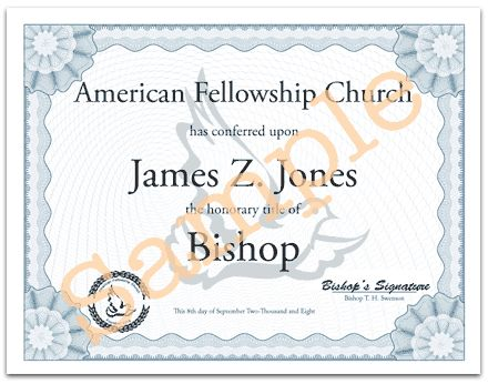 Honorary Degrees and Certificates - American Fellowship Church