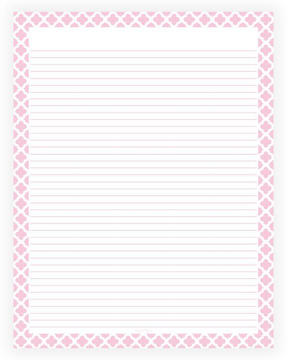 Editable Lined Paper Pink and White Quatrefoil Instant