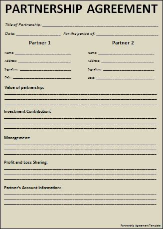 Partnership Agreement Template | Free Word Templates