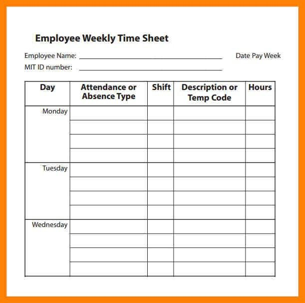 Free Blank Time Sheets 91 | Samples.csat.co