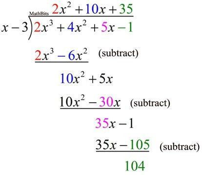 Polynomial Synthetic Division - MathBitsNotebook(A2 - CCSS Math)