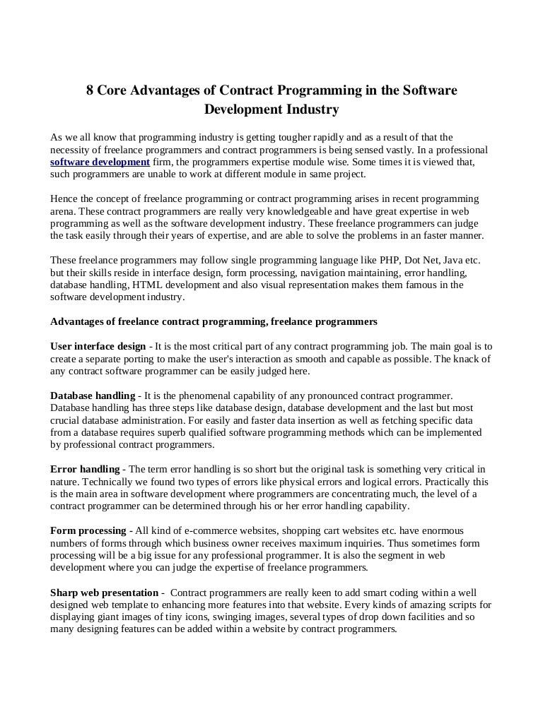 8 Core Advantages Of Contract Programming In The Software Developmentu2026